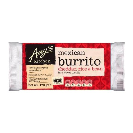 AMYS CHEDDAR, BEAN AND RICE BURRITO 170G
