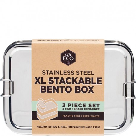 EVER ECO STAINLESS STEEL XL STACKABLE BENTO BOX 3 PIECE SET