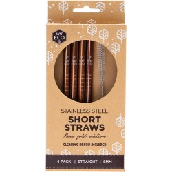 EVER ECO STAINLESS STEEL SHORT STRAWS ROSE GOLD 4PK