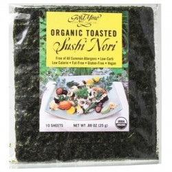 GOLD MINE ORGANIC TOASTED SUSHI NORI 10 SHEETS 25G