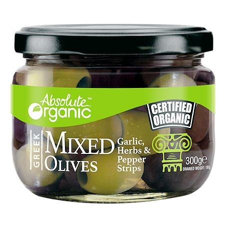 ABSOLUTE ORGANIC MIXED OLIVES WITH GARLIC HERBS & PEPPER STRIPS 300G