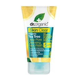 DR ORGANIC SKIN CLEAR TEA TREE DEEP PORE CLEANSING FACE WASH 125ML