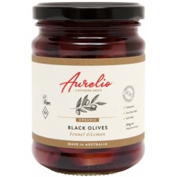 AURELIO ORGANIC BLACK OLIVES FENNEL AND LEMON 240G