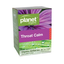 PLANET ORGANIC THROAT CALM HERBAL TEA 25 BAGS