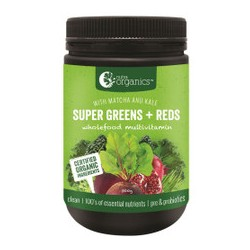 NUTRA ORGANICS SUPER GREENS AND REDS POWDER WITH MATCHA AND KALE 300G