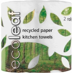 ECOLEAF RECYCLED PAPER KITCHEN TOWEL 2PK
