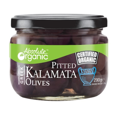 ABSOLUTE ORGANIC PITTED KALAMATA OLIVES 290G