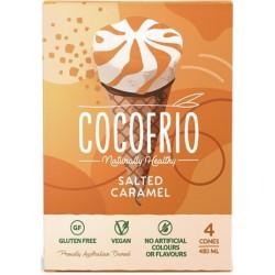 COCOFRIO SALTED CARAMEL CONES 4PK