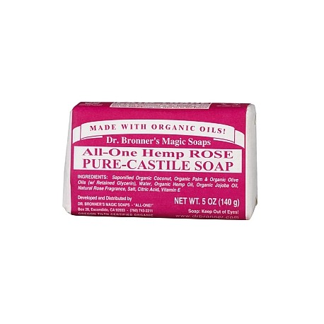 DR. BRONNER'S ROSE PURE-CASTILE BAR SOAP 140G