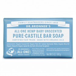 DR. BRONNER'S BABY UNSCENTED PURE-CASTILE BAR SOAP 140G