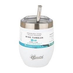 CHEEKI INSULATED WINE TUMBLER WITH STRAW SPIRIT WHITE 320ML