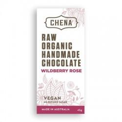 CHENA RAW ORGANIC HANDMADE CHOCOLATE WILDBERRY ROSE 45G
