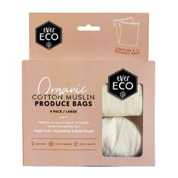 EVER ECO ORGANIC COTTON MUSLIN PRODUCE BAGS 4PK