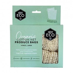 EVER ECO ORGANIC COTTON NET PRODUCE BAGS 4PK