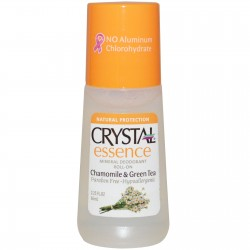 CRYSTAL ESSENCE CHAMOMILE & GREEN TEA MINERAL DEODORANT ROLL ON 66ML