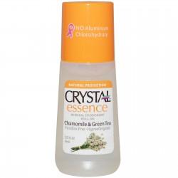 CRYSTAL ESSENCE CHAMOMILE & GREEN TEA MINERAL DEODORANT ROLL ON 66ML