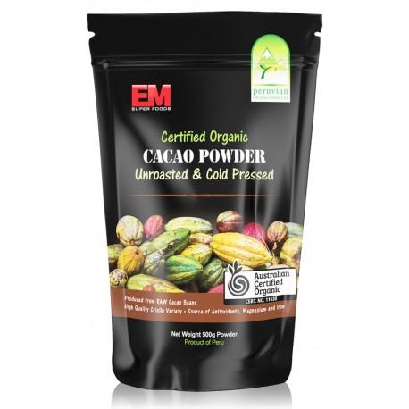 EM SUPER FOODS CERTIFIED ORGANIC CACAO POWDER 500G