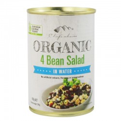 CHEFS CHOICE ORGANIC 4 BEAN SALAD IN WATER 400G