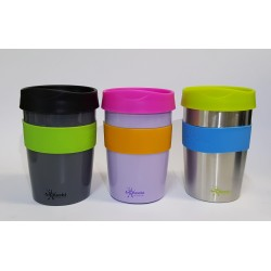 CHEEKI STAINLESS STEEL REUSABLE COFFEE CUP SLATE 355ML