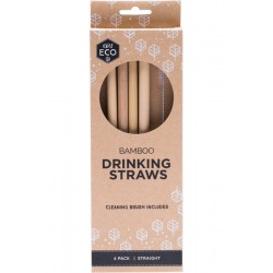 EVER ECO BAMBOO DRINKING STRAWS WITH CLEANING BRUSH STRAIGHT 4PK