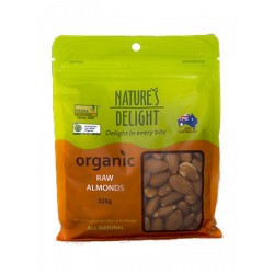 NATURE'S DELIGHT ORGANIC RAW ALMONDS 325G