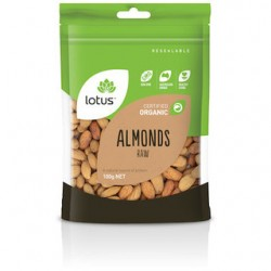 LOTUS RAW ORGANIC ALMONDS 100G