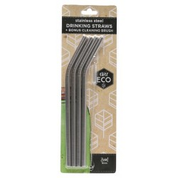 EVER ECO STAINLESS STEEL DRINKING STRAWS BENT 4PK