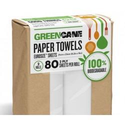 GREEN CANE NATURAL 100% BIODEGRADABLE PAPER TOWLS 2PK